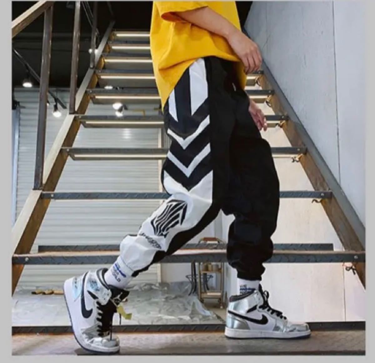 ジョガーパンツ 韓国 メンズ ラインパンツ ストリート ジャージ ホワイト M