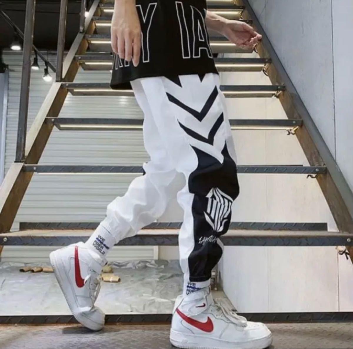 ジョガーパンツ 韓国 メンズ ラインパンツ ストリート ジャージ 白 XL