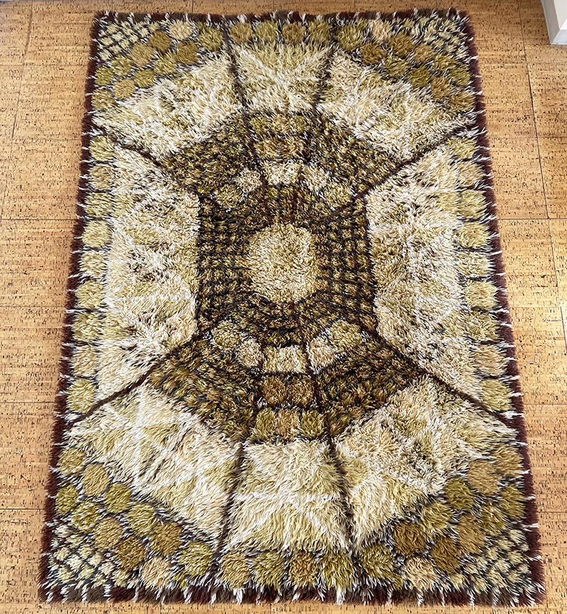 Ostergyllen Sweden Pure Wool Rya Rug Lofstad by Marianne Ritcher 1967 / 北欧 シャギーラグ フィンユール ウェグナー カッシーナ