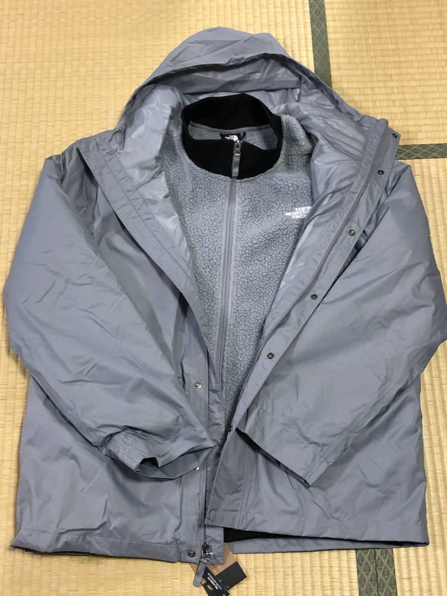 3way新品(ot3703XL)The North Face (メンズXL)トリクライメイトジャケットマウンテンパーカー×シェルパフリースジャケットグレー色_画像3