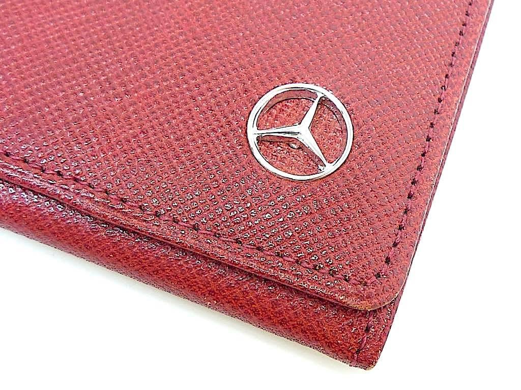 新品 デッドストック 時代 西ドイツ MERCEDES-BENZ メルセデスベンツ レザー 長財布 ウォレットケース ワインレッド 赤 薄型 元箱 定形外_画像4