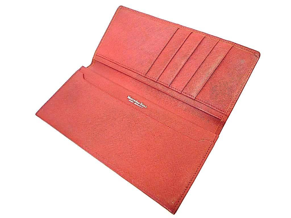 新品 デッドストック 時代 西ドイツ MERCEDES-BENZ メルセデスベンツ レザー 長財布 ウォレットケース ワインレッド 赤 薄型 元箱 定形外_画像3