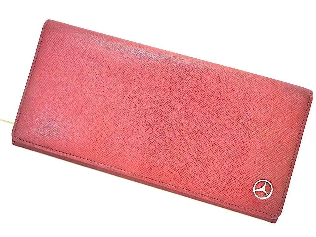 新品 デッドストック 時代 西ドイツ MERCEDES-BENZ メルセデスベンツ レザー 長財布 ウォレットケース ワインレッド 赤 薄型 元箱 定形外_画像2