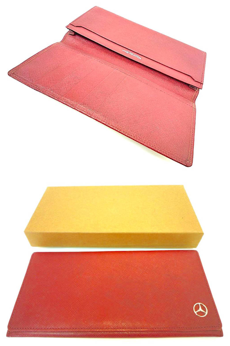 新品 デッドストック 時代 西ドイツ MERCEDES-BENZ メルセデスベンツ レザー 長財布 ウォレットケース ワインレッド 赤 薄型 元箱 定形外_画像9