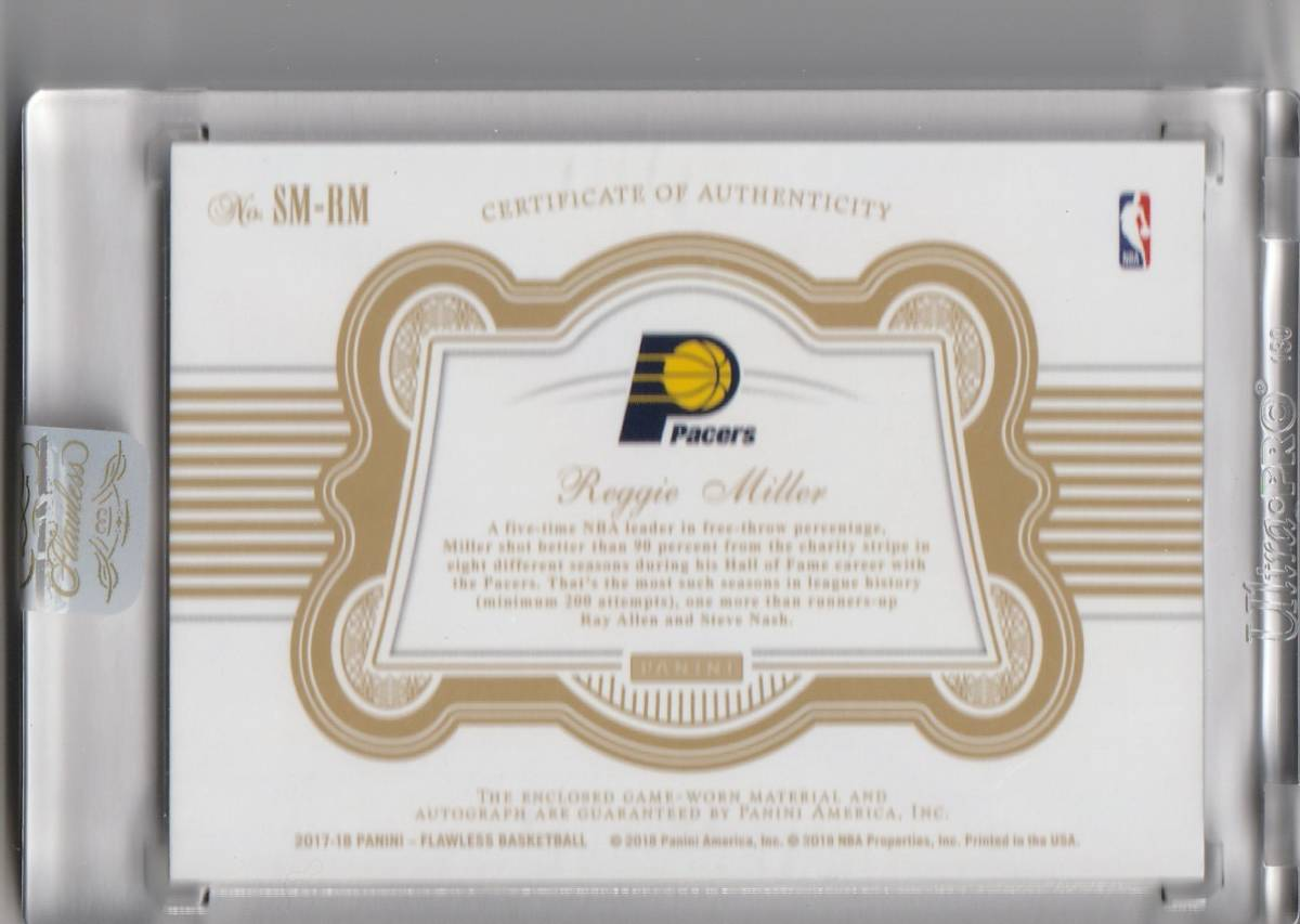 2017-18 PANINI FLAWLESS Reggie Miller PATCH Auto GOLD 直筆サインカード 10枚限定 PACERS_画像2
