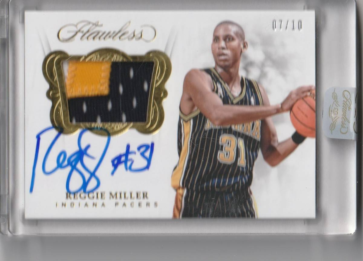 2017-18 PANINI FLAWLESS Reggie Miller PATCH Auto GOLD 直筆サインカード 10枚限定 PACERS_画像1
