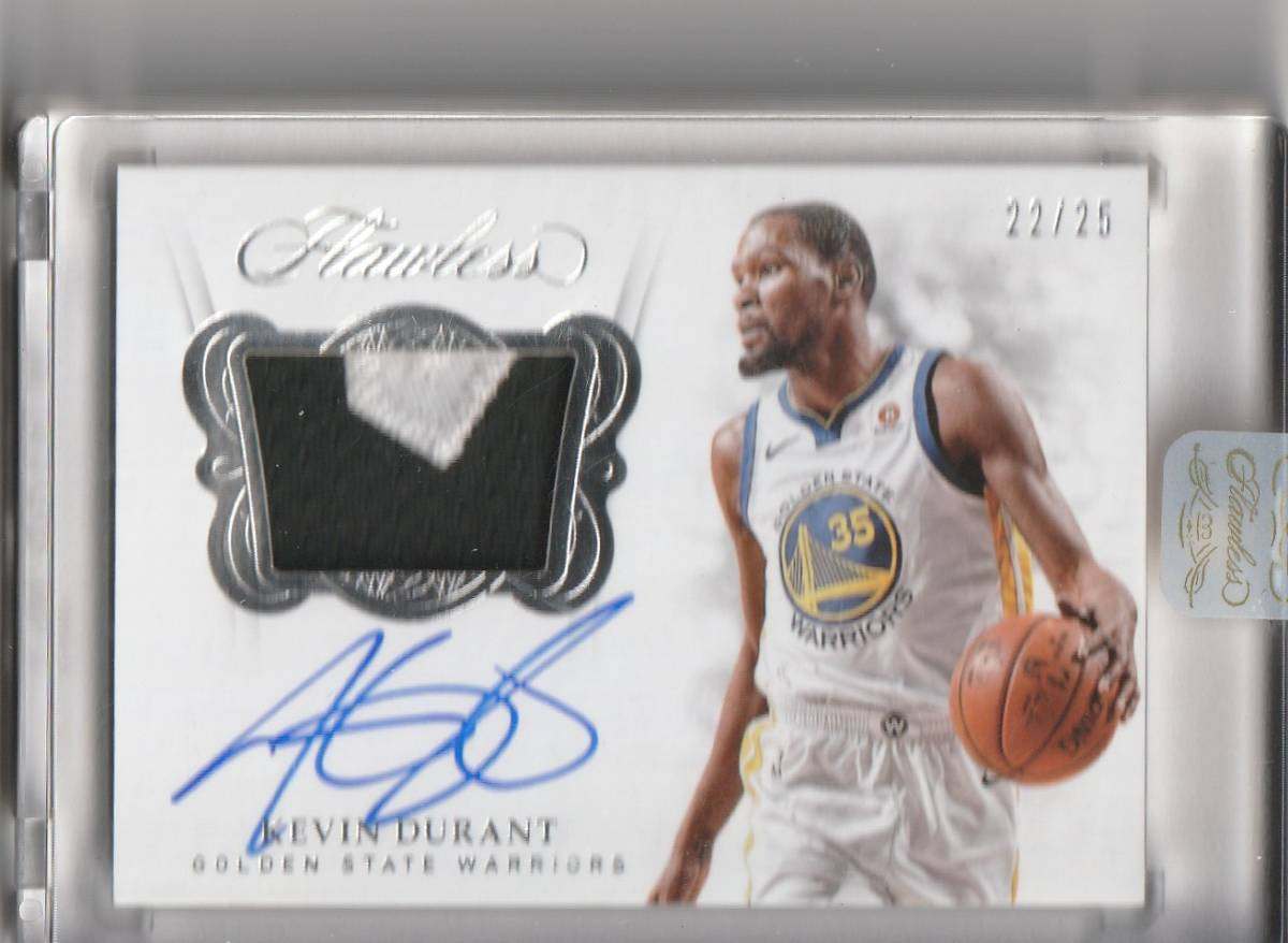 2017-18 PANINI FLAWLESS Kevin Durant PATCH Auto 直筆サインカード /25 25枚限定 WARRIORS NETS_画像1