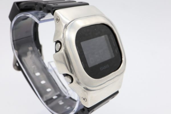 カスタムGショック DW-5600BB-1JF ヴィンテージ加工 シルバー925 鑑定済 純銀 メンズ G-SHOCK カスタムベゼル_画像3