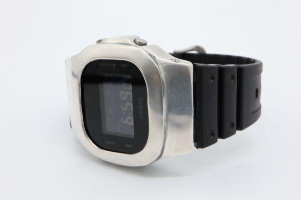 カスタムGショック DW-5600BB-1JF ヴィンテージ加工 シルバー925 鑑定済 純銀 メンズ G-SHOCK カスタムベゼル_画像7