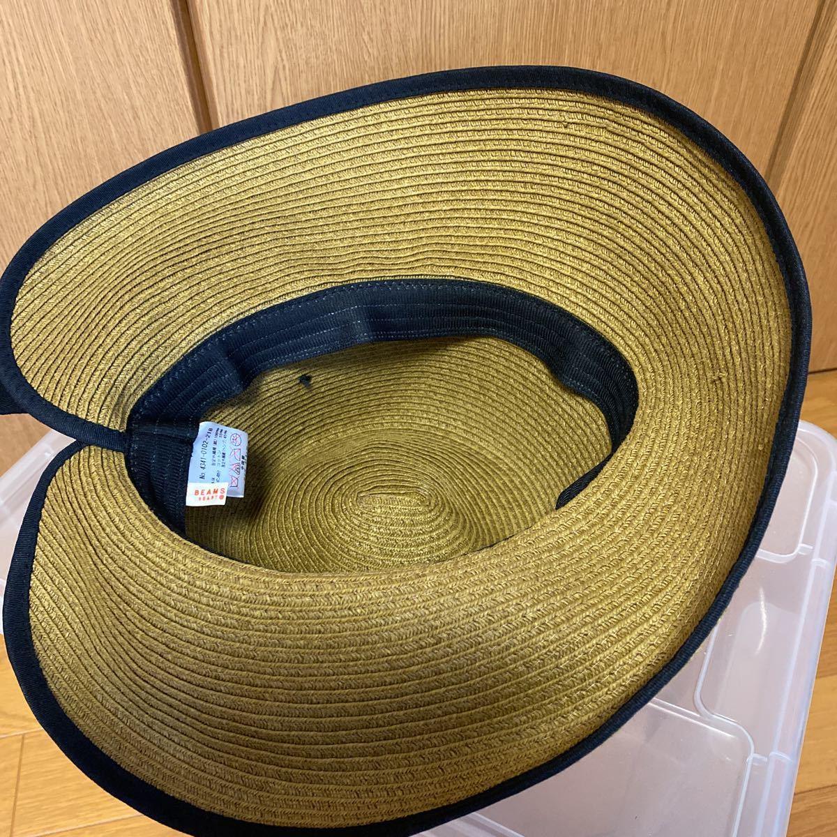 新品・未使用★レイビームス Ray Beams 帽子 リボン付き麦わら帽子★サイズ57.5㎝_画像4