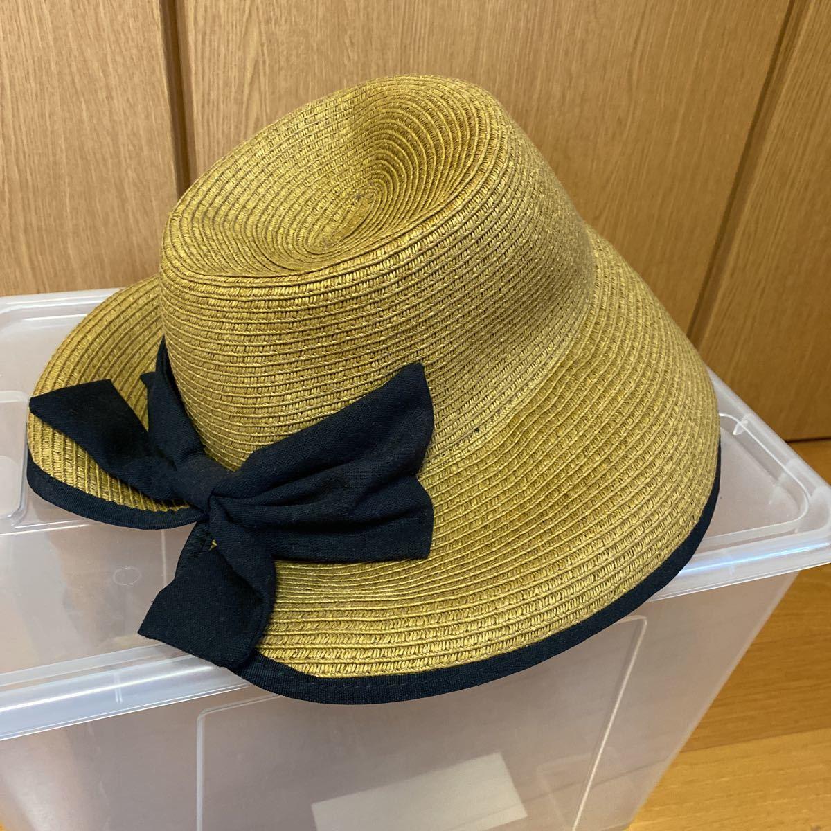 新品・未使用★レイビームス Ray Beams 帽子 リボン付き麦わら帽子★サイズ57.5㎝_画像1