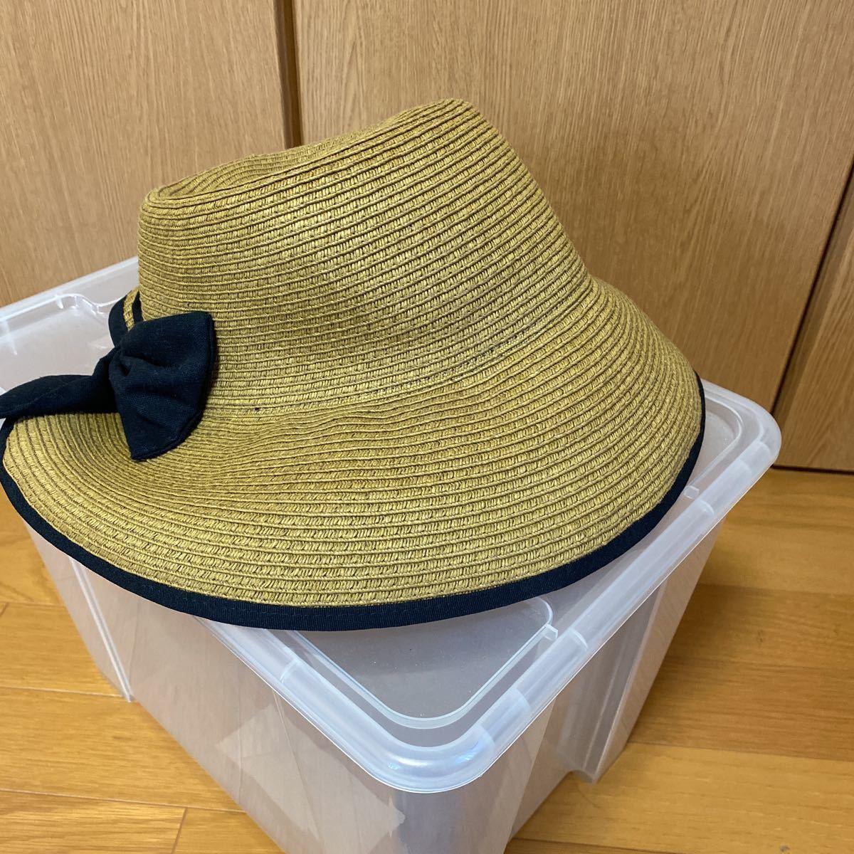 新品・未使用★レイビームス Ray Beams 帽子 リボン付き麦わら帽子★サイズ57.5㎝_画像3