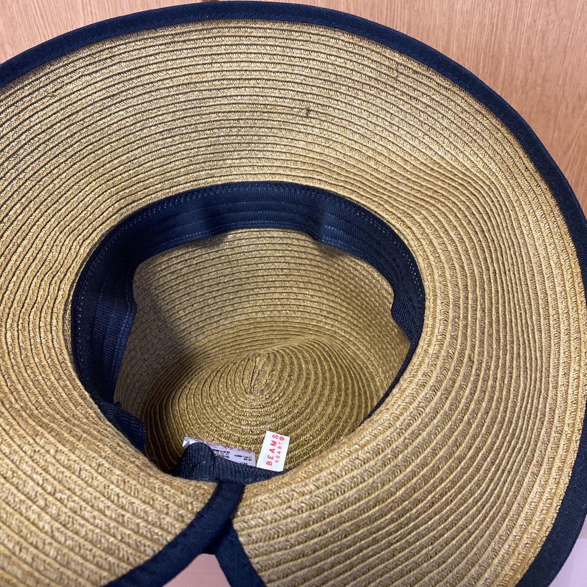 新品・未使用★レイビームス Ray Beams 帽子 リボン付き麦わら帽子★サイズ57.5㎝_画像6