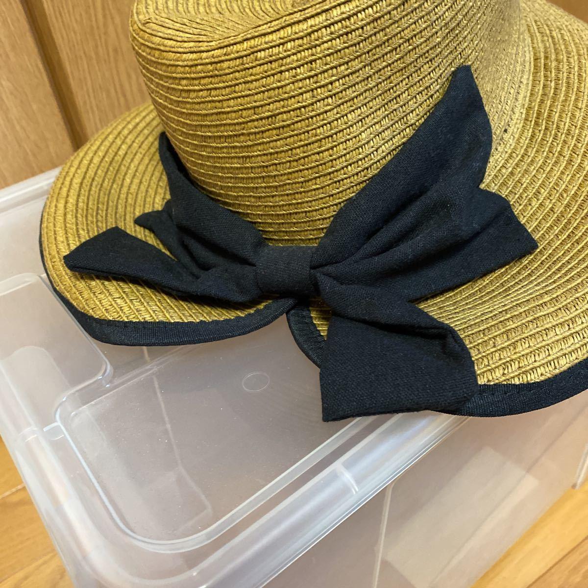 新品・未使用★レイビームス Ray Beams 帽子 リボン付き麦わら帽子★サイズ57.5㎝_画像2