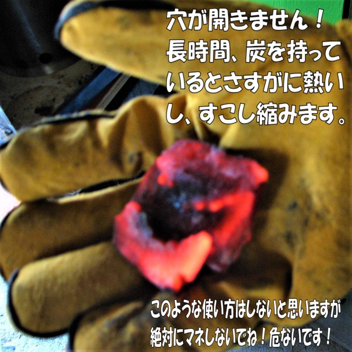 耐熱 グローブ 焚き火 手袋 薪ストーブ キャンプ アウトドア BBQ 牛革
