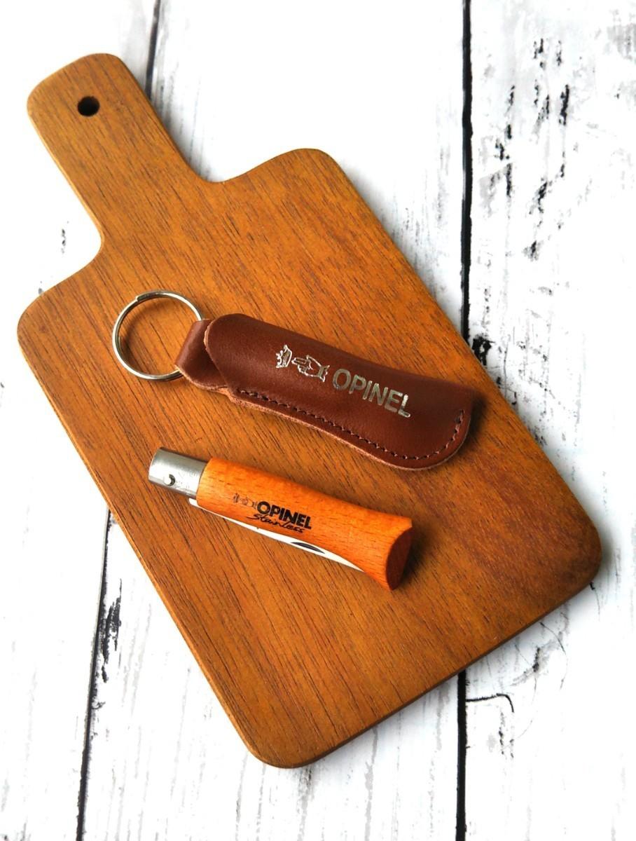 オピネルステンレスナイフNo4茶革ケース付とサービングボードのセット