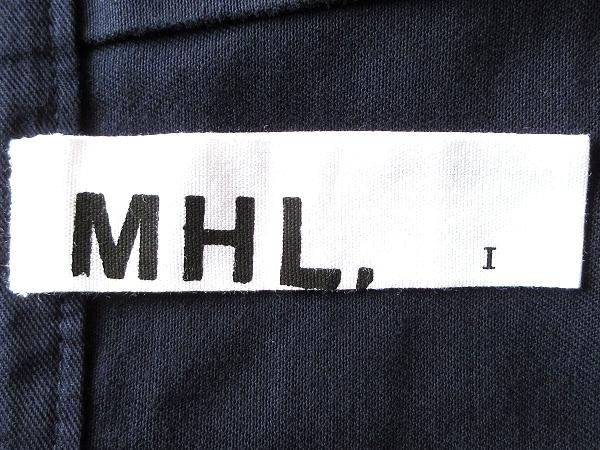 美品 MHL. マーガレットハウエル 2016SS SOFT DRILL ピーチスキン ソフトコットンドリル タックスカート 1 ネイビー 紺 MARGARET HOWELL_画像6