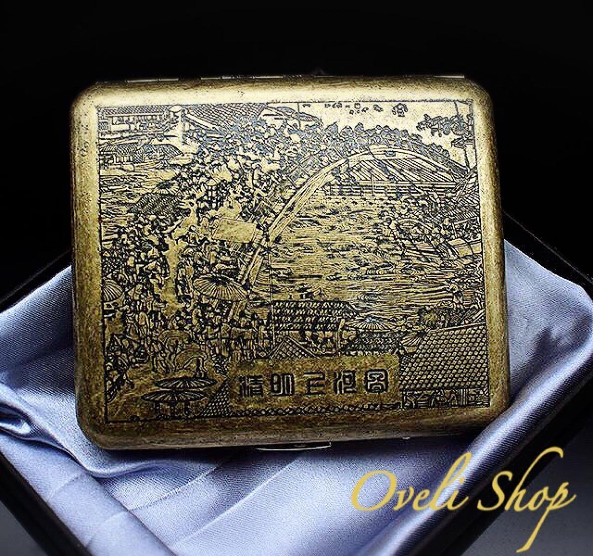 【海外限定】タバコケース 20本収納 浮世絵 和風 ゴールド
