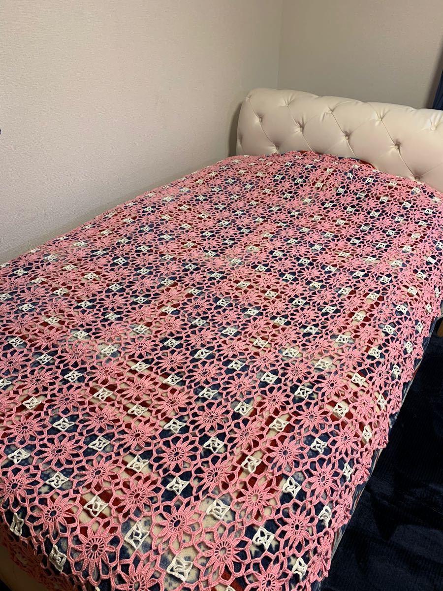 手作りベッドカバー パッチワークキルト 花柄