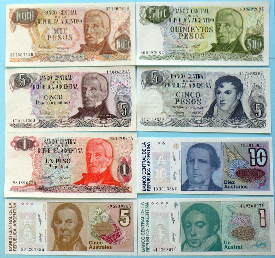 世界の紙幣【アルゼンチン共和国】1,000~1ペソと10~1アウストラルの八種 1976~1991年
