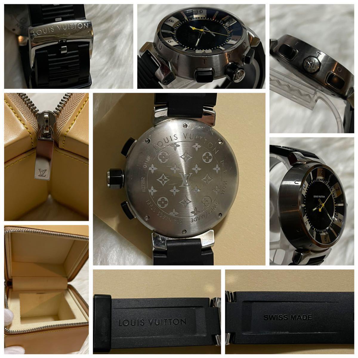 本物 ルイヴィトン タンブールインブラック Q118F メンズ SS/ダミエ ラバーベルト 黒 LOUIS VUITTON 腕時計_画像4