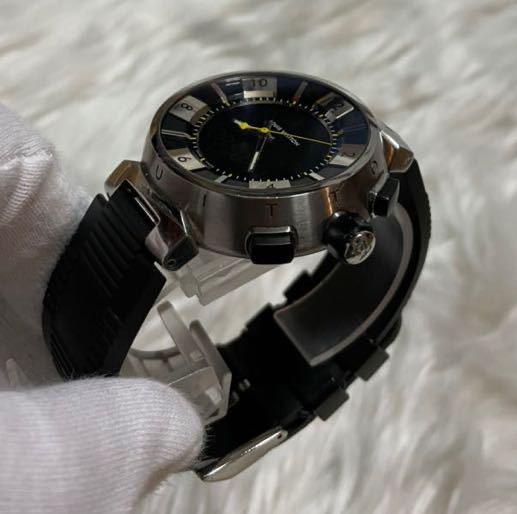 本物 ルイヴィトン タンブールインブラック Q118F メンズ SS/ダミエ ラバーベルト 黒 LOUIS VUITTON 腕時計_画像2