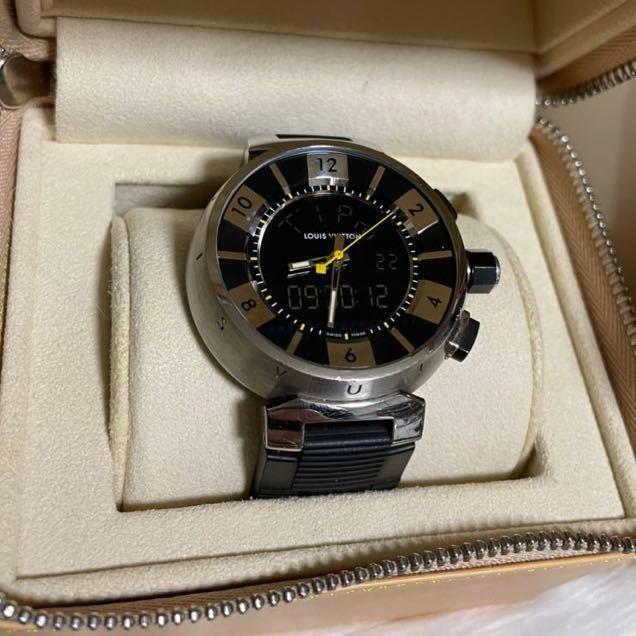 本物 ルイヴィトン タンブールインブラック Q118F メンズ SS/ダミエ ラバーベルト 黒 LOUIS VUITTON 腕時計_画像3