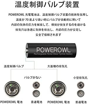 単3形16個パック 単3形充電池2800mAh Powerowl単3形充電式ニッケル水素電池16個パック 超大容量 PSE安全認_画像4