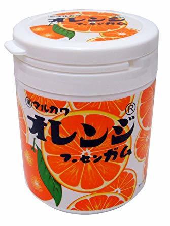 1個 丸川製菓 オレンジマーブルガムボトル 130g_画像1