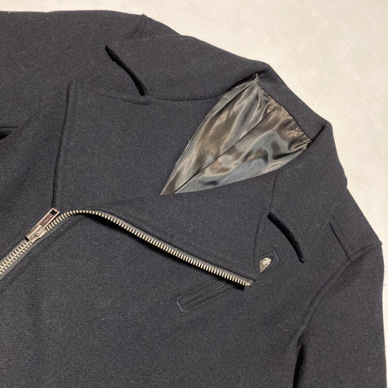アバハウス★レア高級モデル★ライダースジャケット ヴィンテージIDEALジップ メルトンウール 黒 3 美シルエット ABAHOUSE モード&ロック_画像7