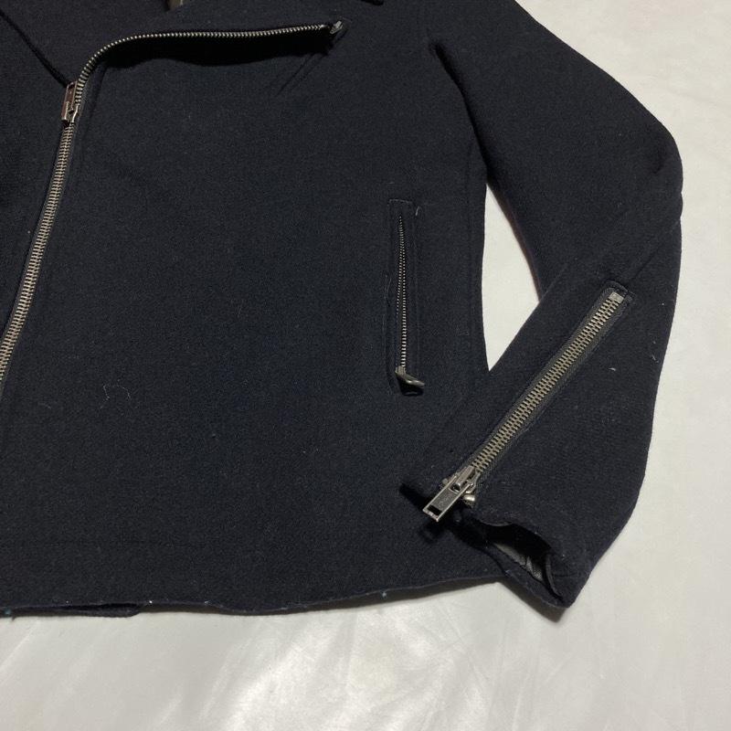 アバハウス★レア高級モデル★ライダースジャケット ヴィンテージIDEALジップ メルトンウール 黒 3 美シルエット ABAHOUSE モード&ロック_画像9
