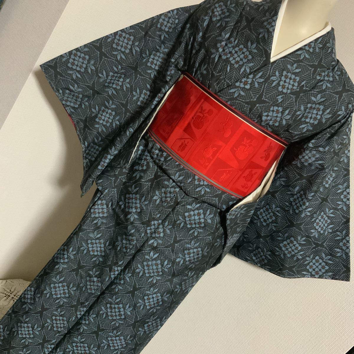 大島紬 袷 正絹_画像5