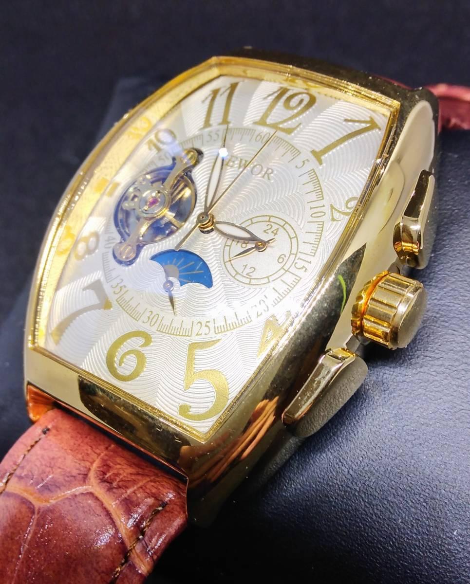 機械式自動巻き腕時計 ホワイトフェイス ゴールドフレーム ブラウンバンド SEWOR オマージュウォッチ 世界中で大人気 新品 国内発送