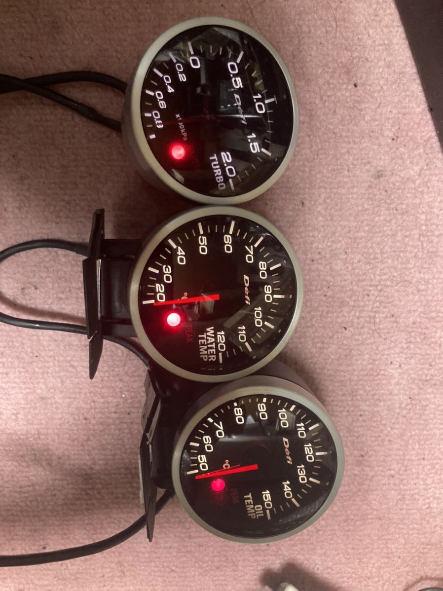 稀少 デフィ リンクメーターBF ホワイト60パイ ブースト計 水温計 油温計 コントロールユニット2 セット defi s15 jzx100 通電確認済