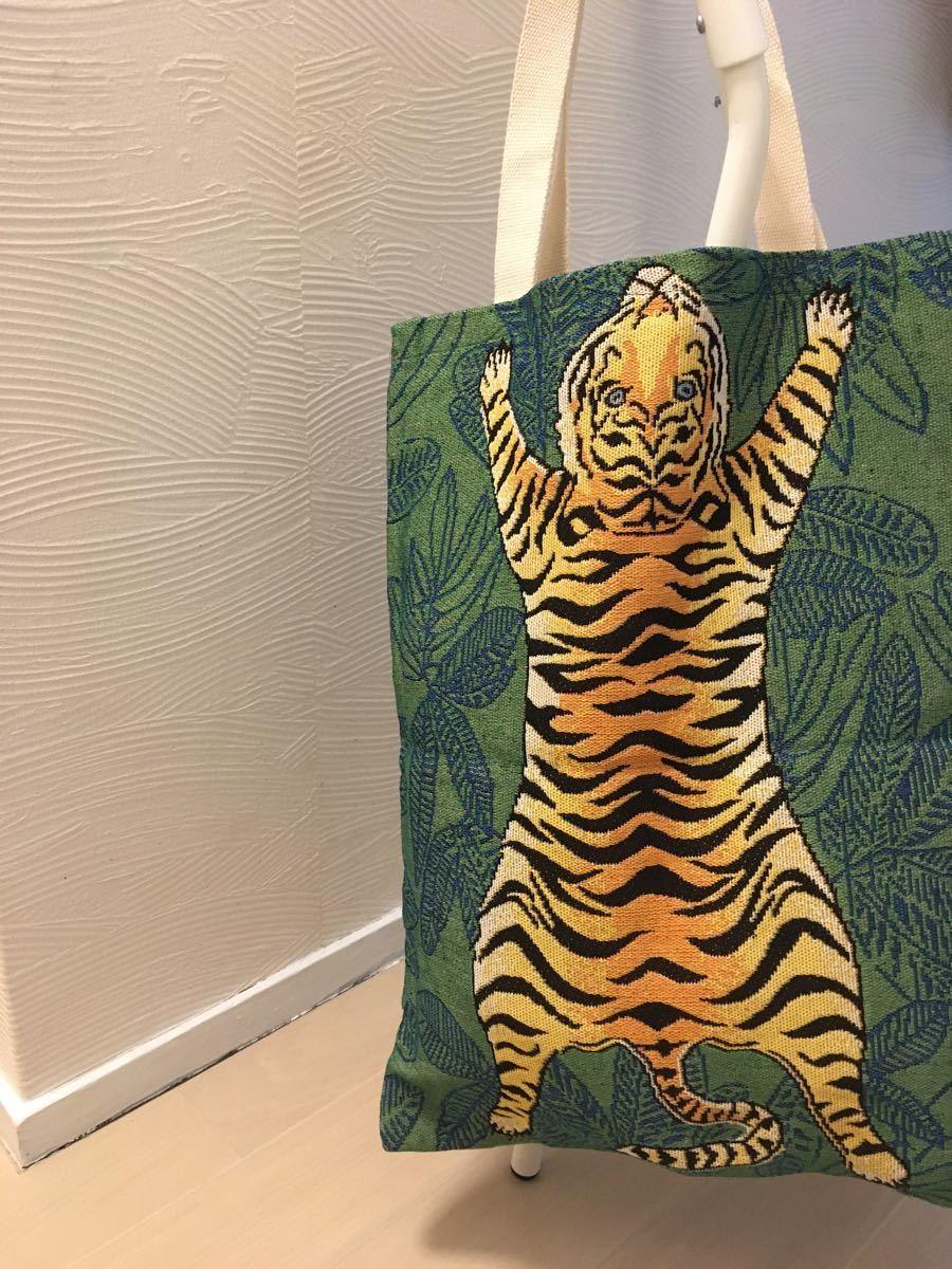虎 デザイン トートバッグ エコバッグ ショッピングバッグ ショルダーバッグ
