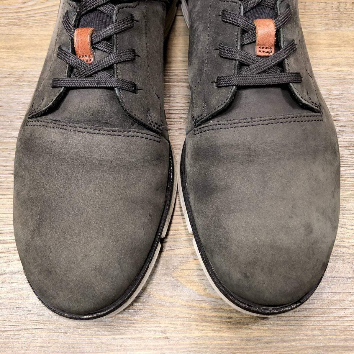 ■Clarks■ 25cm UK6.5 グレー クラークス レザースニーカー メンズ 靴 革靴 天然皮革 箱付き くつ 中古 宅急便 即決_画像4