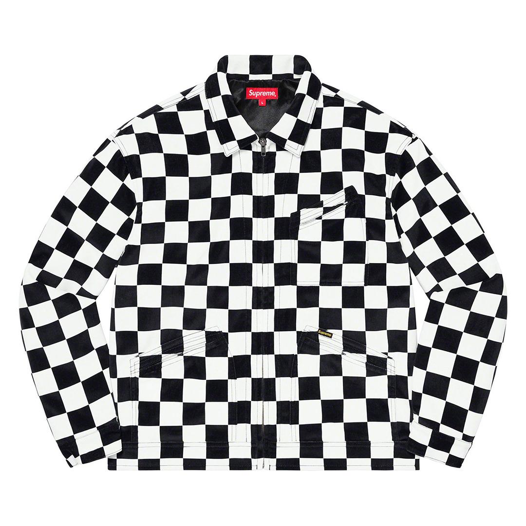 1347 Supreme Velvet Work Jacket Checkerboard XL/シュプリーム ベルベット ワーク ジャケット チェッカーボード XL 2020FW_画像2