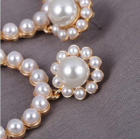 A063 ピアス アクセサリー 女性 流行クリスタルラウンドペンダントドロップピアス ファッション真珠声明ジュエリー | 1円即決価格!_この商品はピアスです。