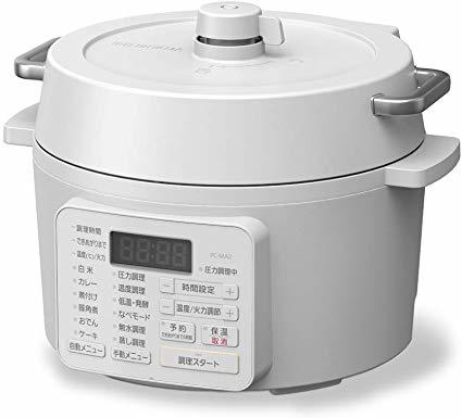 送料無料 PC-MA2-W 電気圧力鍋 2.2L アイリスオーヤマ IRIS ホワイト 白
