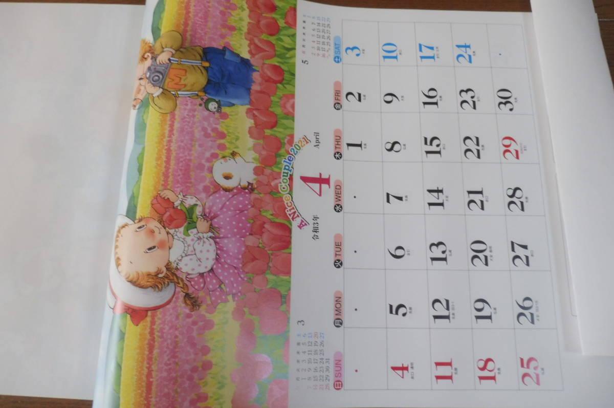 2021年壁掛けカレンダー可愛いイラストA Nice Couple パッチワーク好きにもメルヘン 藤田三歩ミックルぺぺ 毎月1枚12ヶ月六曜書き込み _画像5