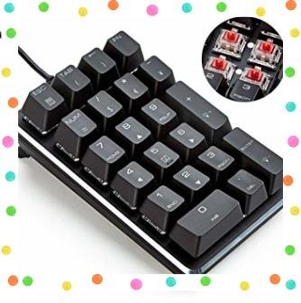 テンキーボード メカニカル式テンキーパッド 赤軸 21キー USB接続 ブラック Windows Mac 対応_画像1