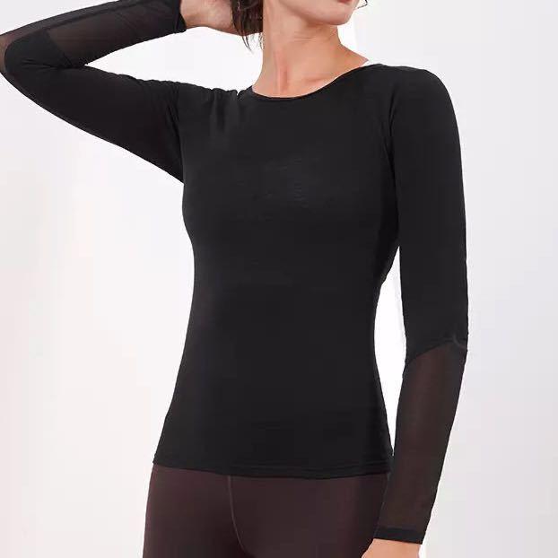 綿素材*クロスバック 長袖Tシャツ Lサイズ 黒 ヨガトップス ヨガ長袖 ヨガウェア ジムウェア トレーニング ランニング
