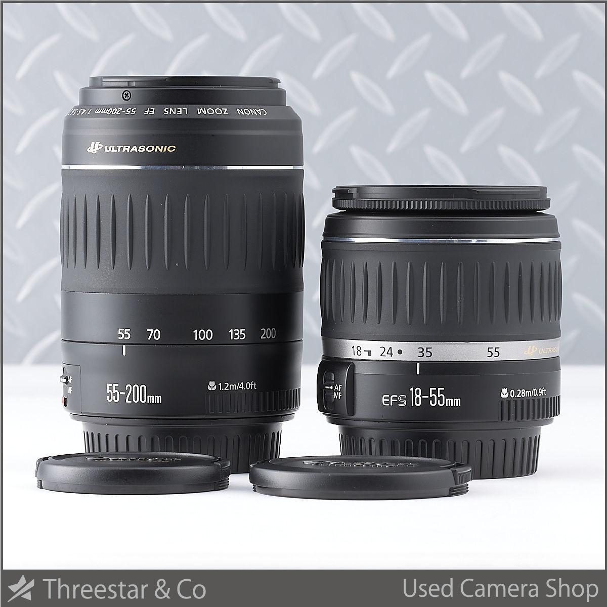 1円~ CANON EF-S 18-55mm F3.5-5.6 II USM/EF 55-200mm F4.5-5.6 II USM セット 【3】