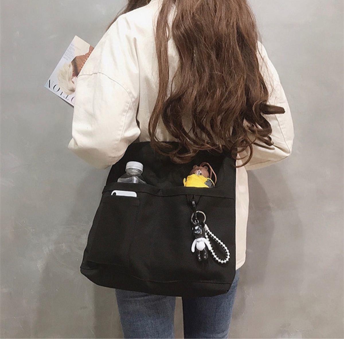 新品 韓国 男女兼用 トートバッグ ショルダーバッグ マザーズバッグ 通勤 通学 学生 大容量 軽量 セット ブラック