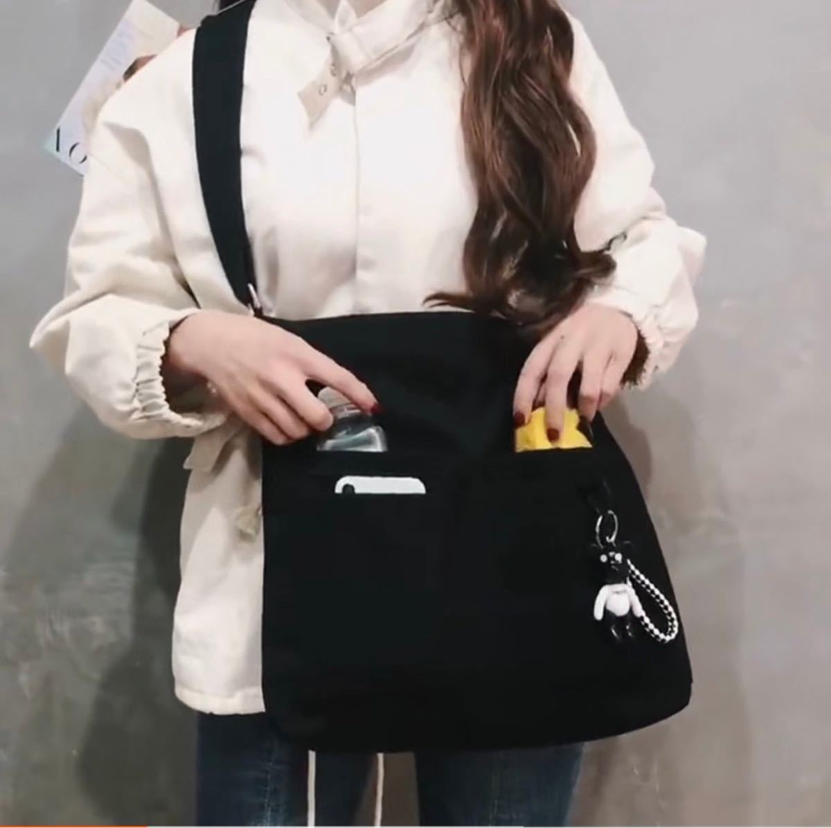 新品 韓国 レディース メンズ 男女兼用 トートバッグ ショルダーバッグ マザーズバッグ 通勤 通学 学生 春 冬 セット 黒