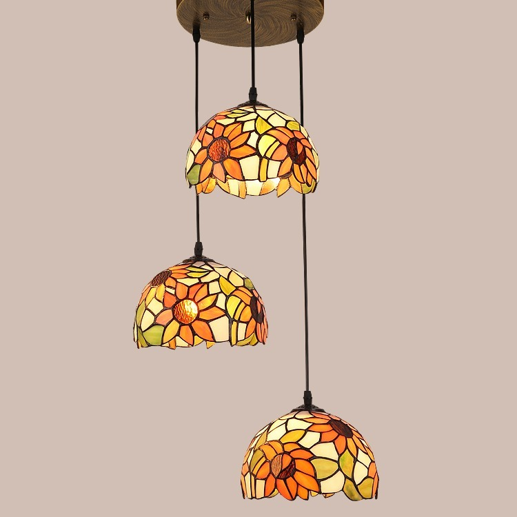 ◆最安にします◆ステンドグラス ペンダントライト 豪華天井照明ステンドグラスランプ ガラス工芸品 AT9143_画像1