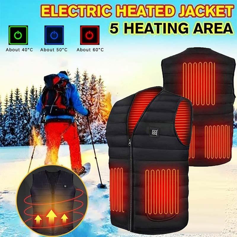 ◆最安にします◆ 電熱ベスト メンズ Lサイズ ベスト USB 屋外 ジャケット ブラック モバイル電源 作業 外 おしゃれ かっこいい AT11053_画像1