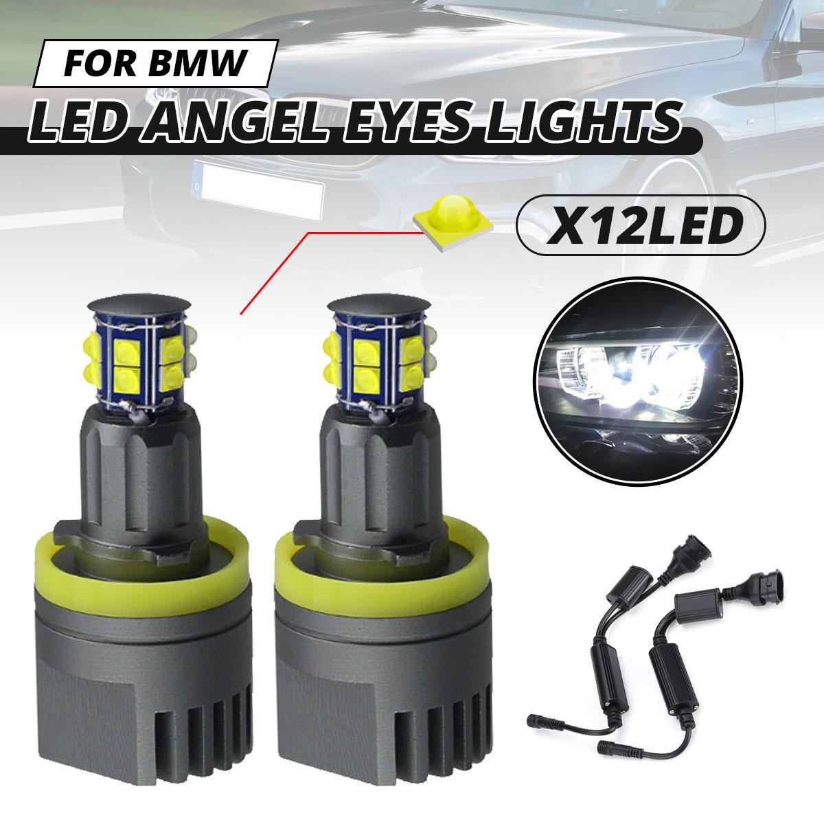 2 × 120 ワットH8 LEDエンジェル アイズフォグランプ ヘッドライトCANBUS BMW E60 E61 E63 X5 E70 X6 E71 E90 E91 E92 E93 M3 E89 E_画像1