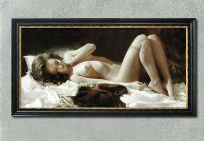 新品未使用 油彩美術品人物画人体の芸術絵画寝室装飾品80cm*40m_画像1