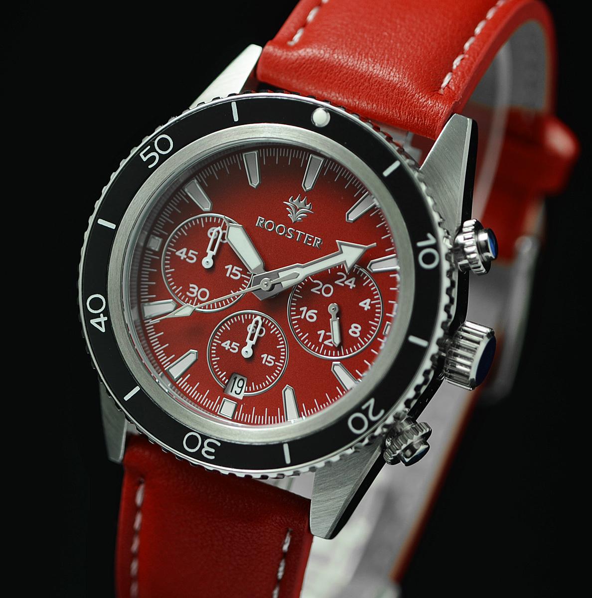 1円×3本!ROOSTER パッションレッド 世界限定500本 入手困難 RED 100m防水 クロノグラフ 本革ベルト 腕時計 世界限定500本 メンズ